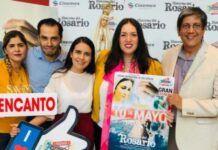 Gaby Jácoba -segunda por la derecha- en la promoción de la película Historias del Rosario