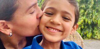 Nadia Vado con su tercer hijo